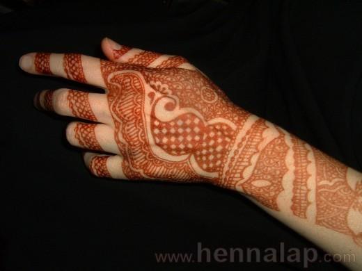 Hennaminta árnyékolása, színárnyalatok a kéz különböző részein